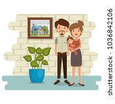 family parents in house place... | Shutterstock .eps vector #1036842106
