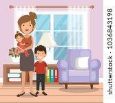 family parents in living room...   Shutterstock .eps vector #1036843198