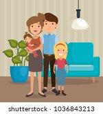 family parents in living room... | Shutterstock .eps vector #1036843213