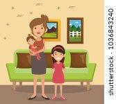 family parents in living room... | Shutterstock .eps vector #1036843240