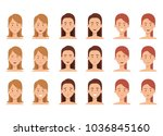 group of young women poses and... | Shutterstock .eps vector #1036845160