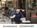 dissatisfied man losing at... | Shutterstock . vector #1036846489