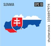 slovakia map border with flag...   Shutterstock .eps vector #1036847974