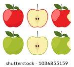 apples. set of red  green ...   Shutterstock .eps vector #1036855159