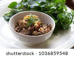 pork spicy salad in thai style | Shutterstock . vector #1036859548