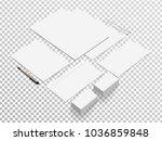 isometric stationery mockup.... | Shutterstock .eps vector #1036859848