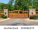 Stately Entrance to New Gated Community - stock photo
