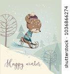 cute fawn on sleigh | Shutterstock .eps vector #1036866274