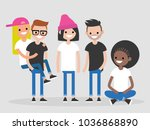 international group of young... | Shutterstock .eps vector #1036868890