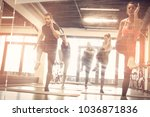group of young people exercise. ... | Shutterstock . vector #1036871836