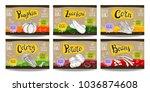 set colorful food labels ... | Shutterstock .eps vector #1036874608
