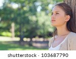 young woman standing with her... | Shutterstock . vector #103687790