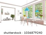 isolated home interior... | Shutterstock . vector #1036879240