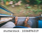 traveler feet on the train... | Shutterstock . vector #1036896319