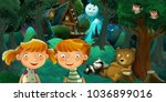 cartoon scene with boy and girl ... | Shutterstock . vector #1036899016