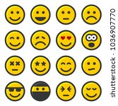 yellow smile icons set on white ... | Shutterstock .eps vector #1036907770
