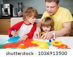 father and the children prepare ... | Shutterstock . vector #1036913500