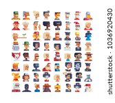 pixel art avatar profile... | Shutterstock .eps vector #1036920430
