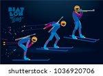 biathlon. vector color line... | Shutterstock .eps vector #1036920706