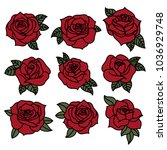 Stock vector colored tattoo style rose vector illustration icon set 1036929748