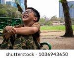 asian kid model  boy have fun ... | Shutterstock . vector #1036943650