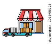 moved color delivery store with ... | Shutterstock .eps vector #1036955128