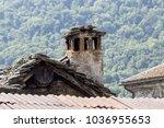 old chimney in mountain cabin   Shutterstock . vector #1036955653