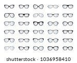 set of black glasses isolated.... | Shutterstock .eps vector #1036958410