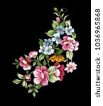 flower ornament embroidery ... | Shutterstock .eps vector #1036965868