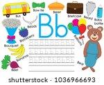 letter b. english alphabet.... | Shutterstock .eps vector #1036966693