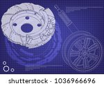 brake disk and wheel with shock ... | Shutterstock .eps vector #1036966696