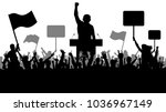 crowd of people demonstrating... | Shutterstock .eps vector #1036967149
