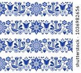 folk art seamless vector floral ... | Shutterstock .eps vector #1036982656