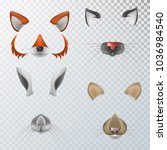 vector realistic animals faces... | Shutterstock .eps vector #1036984540