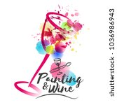 idea for painting and wine... | Shutterstock .eps vector #1036986943