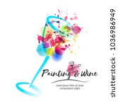 idea for painting and wine... | Shutterstock .eps vector #1036986949