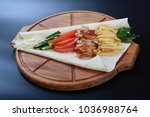 flatbread with chicken meat... | Shutterstock . vector #1036988764
