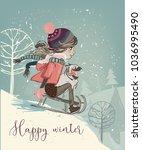 cute girl on sleigh | Shutterstock .eps vector #1036995490