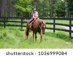 little girl taking horse back... | Shutterstock . vector #1036999084