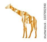 silhouette of giraffe with... | Shutterstock . vector #1037002540