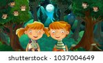 cartoon scene with boy and girl ... | Shutterstock . vector #1037004649