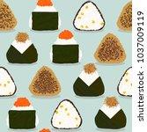 four types of onigiri. seamless ... | Shutterstock .eps vector #1037009119