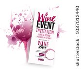 illustration of wine glass with ... | Shutterstock .eps vector #1037012440