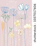 vector background with doodle...   Shutterstock .eps vector #1037017606