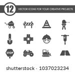 road repairs vector icons for... | Shutterstock .eps vector #1037023234