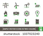power generation simple vector... | Shutterstock .eps vector #1037023240