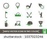 golf simple vector icons in two ...