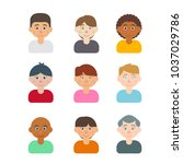 set of people avatar vector  | Shutterstock .eps vector #1037029786