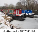 colorful canal boats moored in... | Shutterstock . vector #1037033140