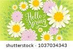 hello spring banner.spring... | Shutterstock .eps vector #1037034343